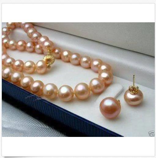 """Genuine 7-8MM Natural Akoya coltivate perla collana 18 """"+ orecchini"""