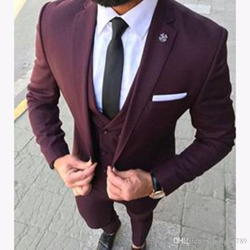 Geliş Bir Düğme Burgonya Damat smokin Notch Yaka Groomsmen Mens Düğün İş Balo takımları (Ceket + Pantolon + Vest + Tie)