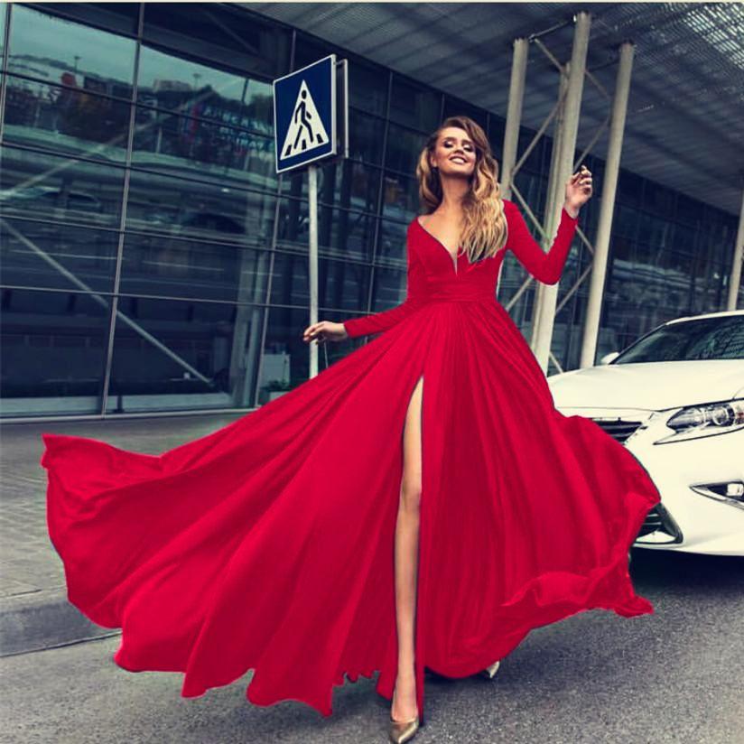 2019 우아한 롱 드레스 여자 저녁 파티 분할 드레스 섹시한 V 넥 기질 맥시 우아한 높은 분할 드레스 패션 여성 의류