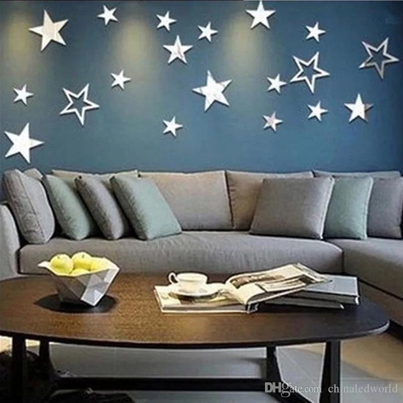 DIY Yıldız Ayna Akrilik Üç Boyutlu Duvar Sticker 19 ADET