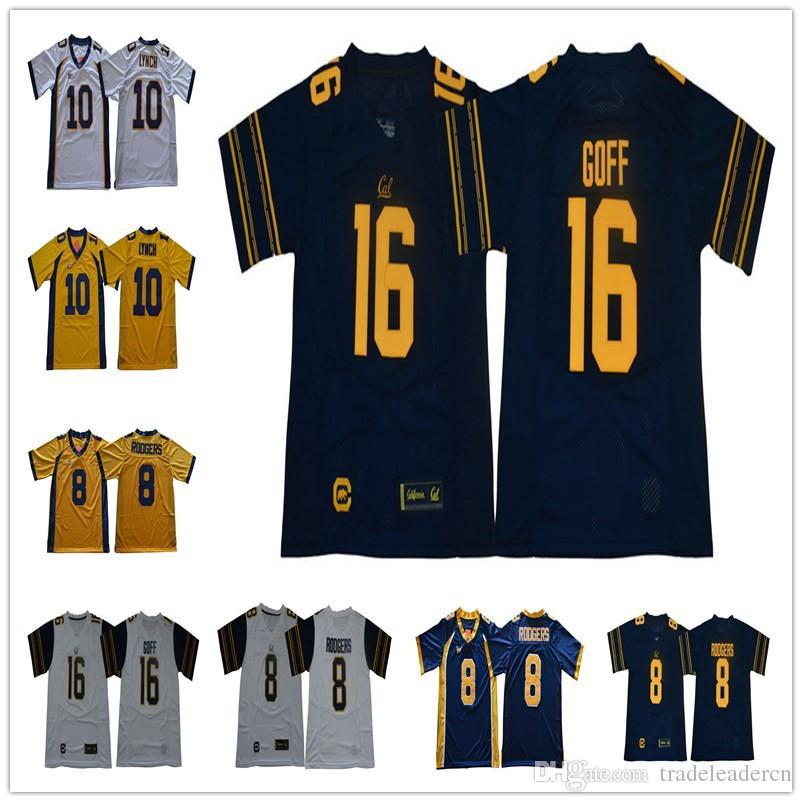 NCAA # 16 Jared Goff 8 Aaron Rodgers 10 Marshawn Lynch California Golden Bears Koleji Futbol Jersey Dikişli Mens Cal Jersey ayılar