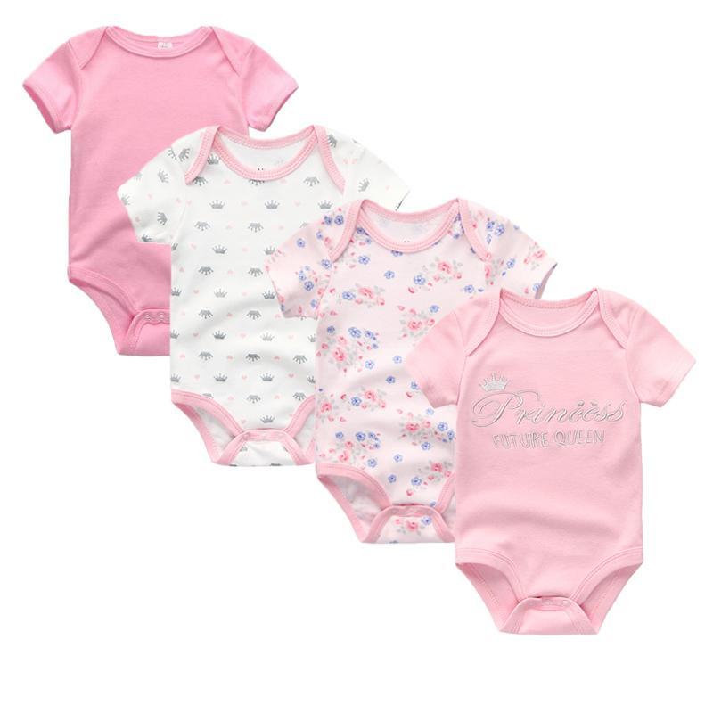 4 Pcs/lot Newbron Summer Short Sleeve Bodysuit Girl Cotton Jumpsuit Set Baby Boy Clothes Q190518