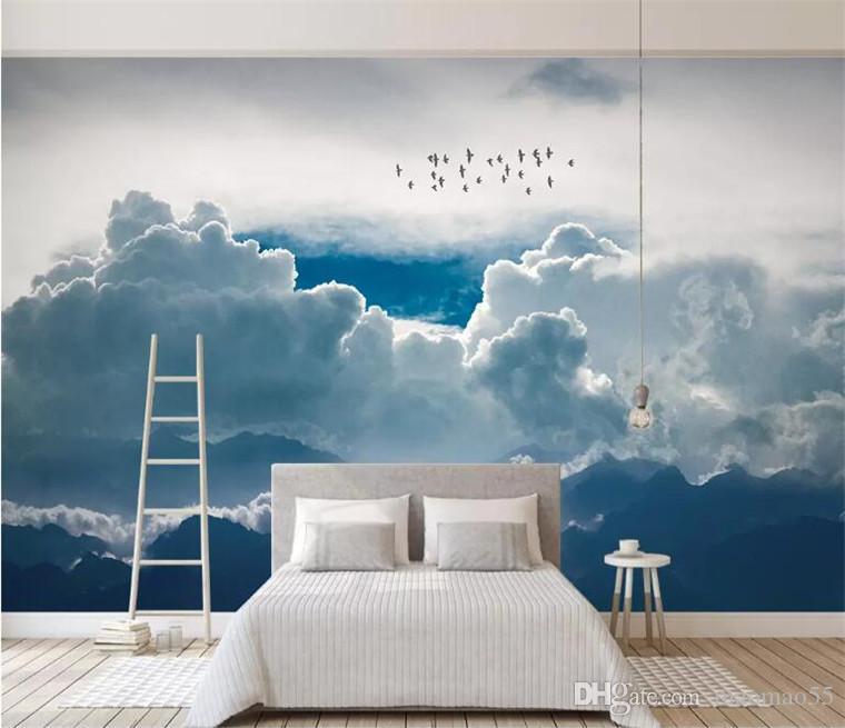 Papel de Pared abstractos modernos minimalistas se nubla el cielo pájaros 3d fondos de escritorio, sala de estar cocina mural de la pared del sitio sofá televisión para niños