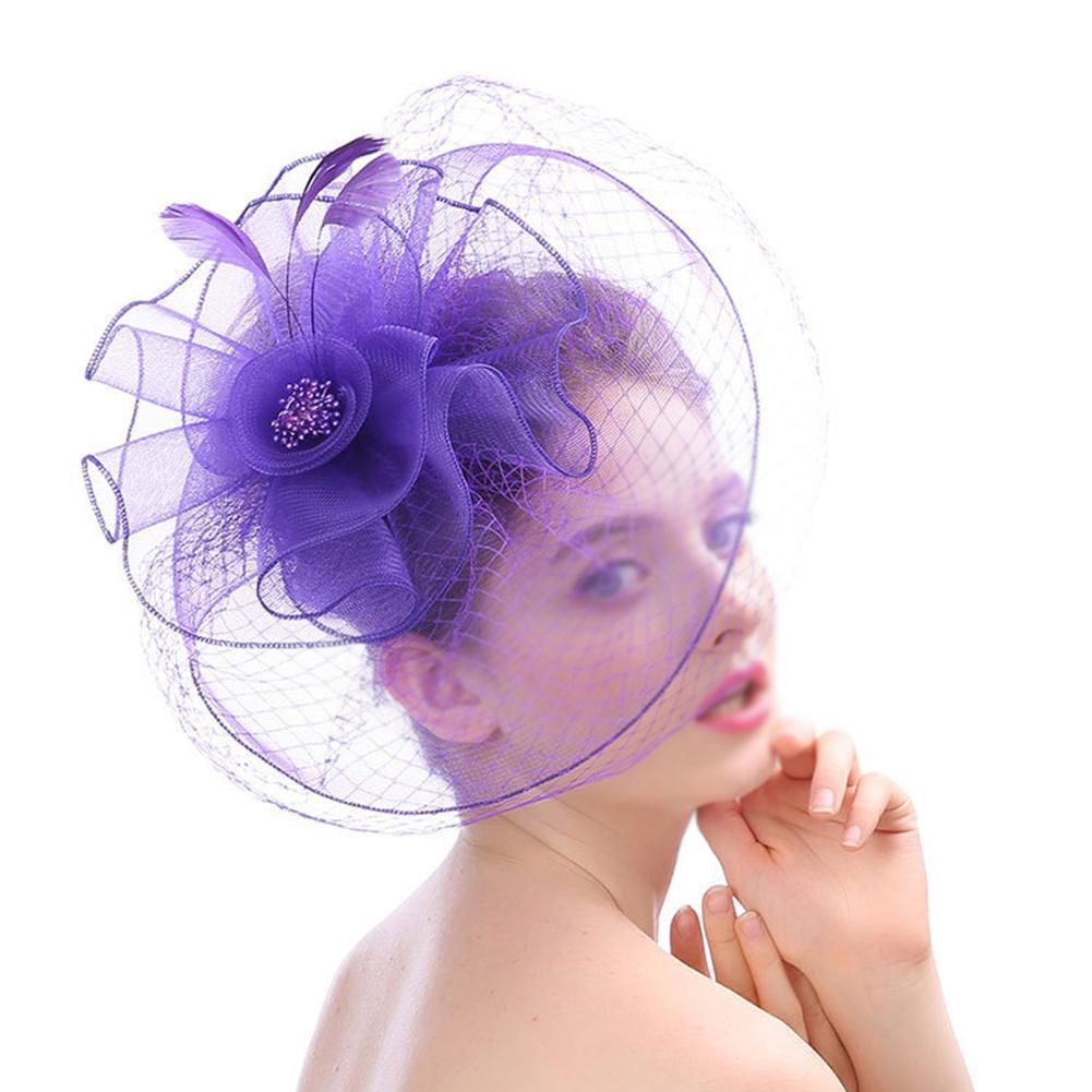 Elegant Lady Vintage Feather Flower Mesh Yarn Bridal Hat Western style Court Banquet Hand-exaggerated Mesh Feather Hat D19011102