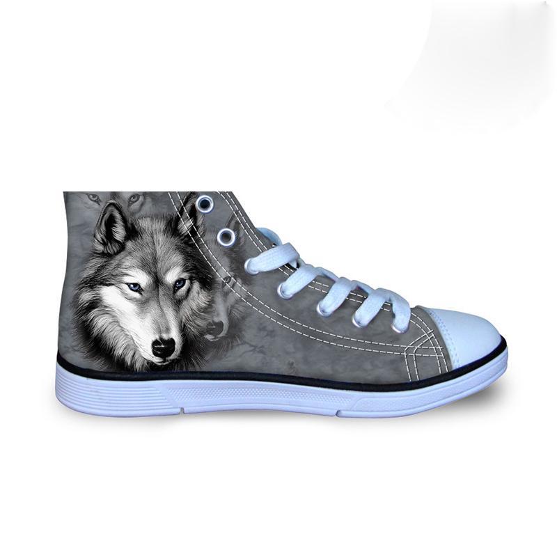 Personalizado Moda Mens vulcanizada sapatos Animais 3D Lobo High Top, Pet Cão Husky Imprimir Sapatos Flats Man lona Masculino calçado