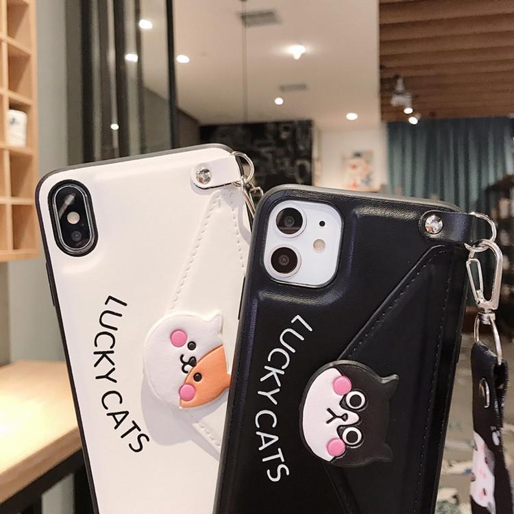 Чехол применимый Iphone11 11Pro Max XR XSMAX X / XS Cute Cat мобильный телефон Shell кобура ремень талреп может Карта бумажник новый защитный рукав+
