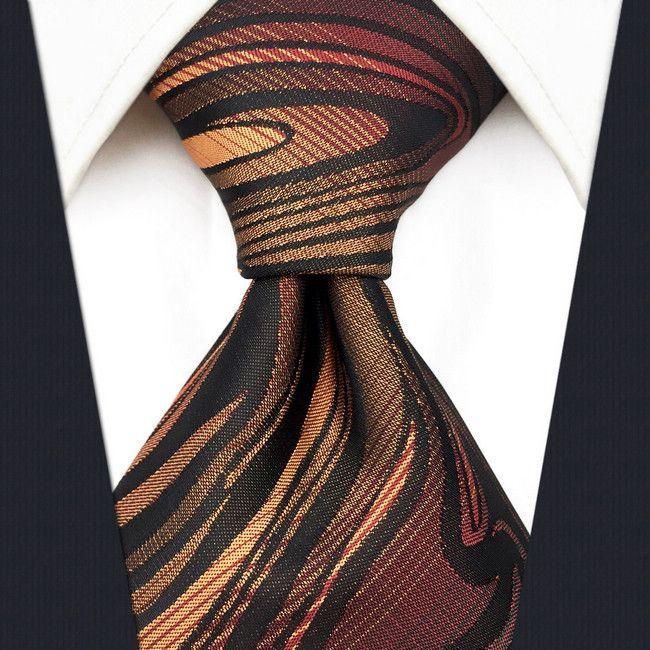B17 오렌지 블랙 리플 실크 결혼식 망 넥타이 넥타이 참신 클래식 넥타이 남성 드레스 여분의 긴 크기