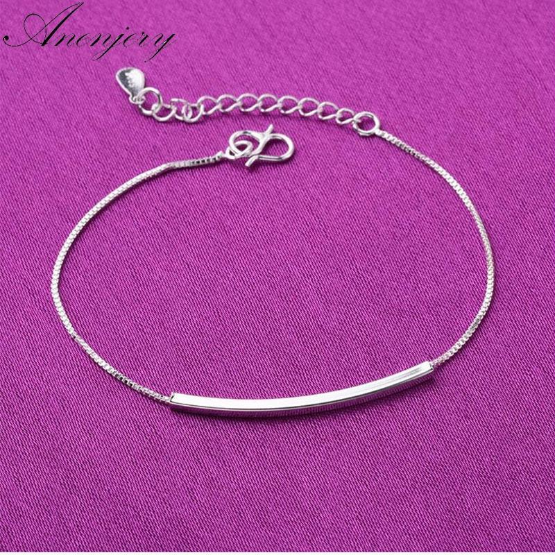 Anenjery Hot moda prata esterlina 925 tornozeleira pulseira para mulheres Curva Tubo Box Chian Ankle Bracelet Jewelry S-B132