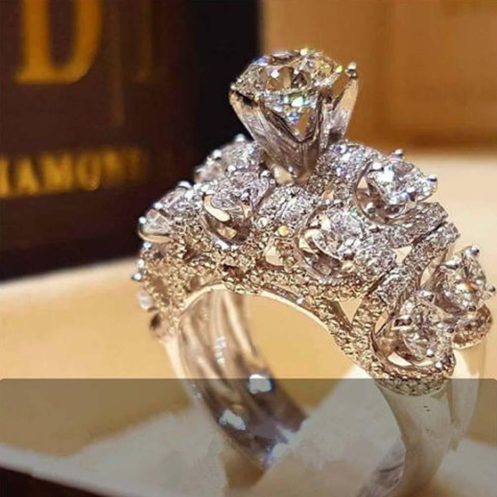 Pareja regalo del día de la manera de las mujeres plateado circón flor del Rhinestone del dedo anular de San Valentín anillo de boda anillo