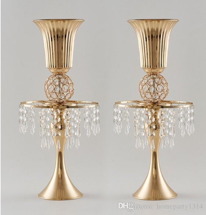 2020 bağbozumu düğün masa metal el sanatları kristal raf çiçek vazo kristal demir Mum düğün mekanı yol kurşun stand Centerpieces