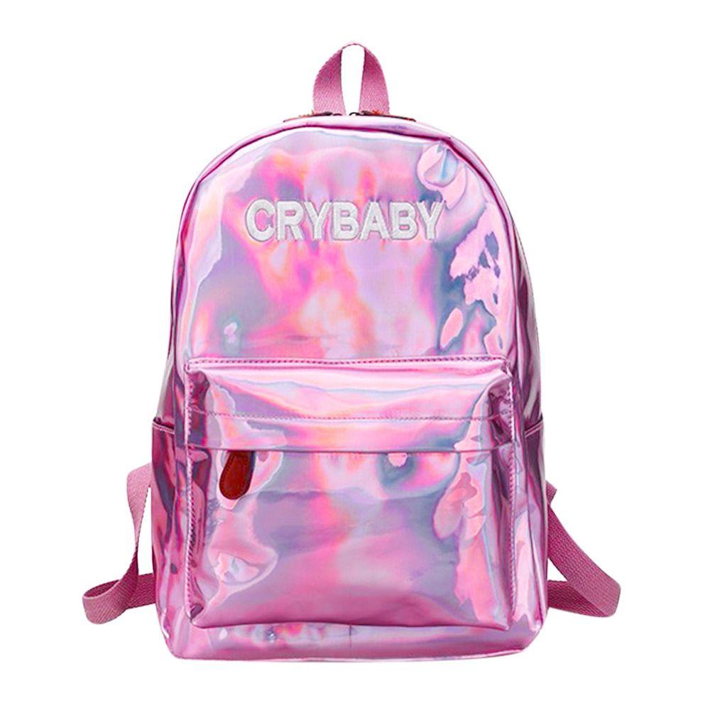 Mini Bolsas de viaje Mochila láser azul rosado de plata Mujeres Mujeres Bolsa PU Mochila de cuero Holográfica Mochilas escolares para adolescentes