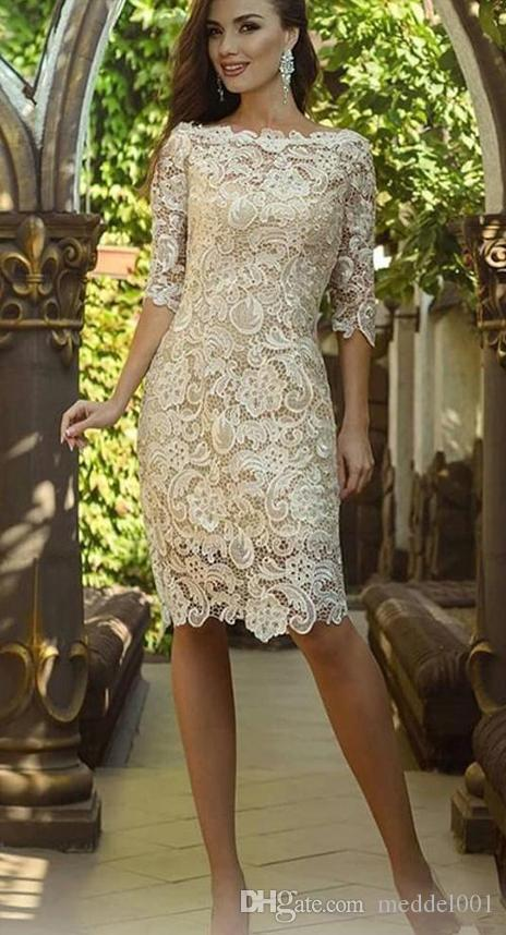 2019 New Vintage Champagne Mother Of The Bride Dresses Off Shoulder Full Lace Half Sleeves Knee Length Custom Wedding Guest Evening Gowns