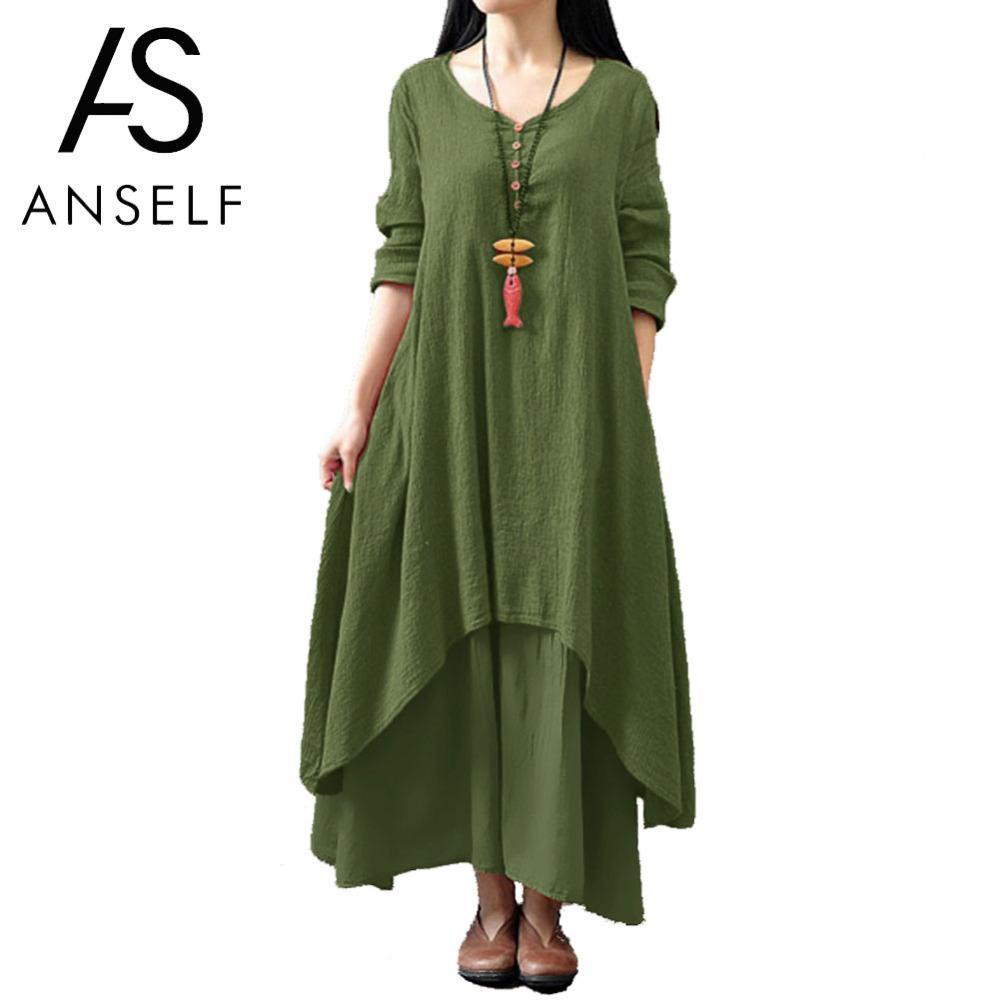 Anself 2019 Women Casual Spring Loose Full Sleeve V Neck Button Plus Size Cotton Linen Boho Long Maxi Dress Vestidos J190621