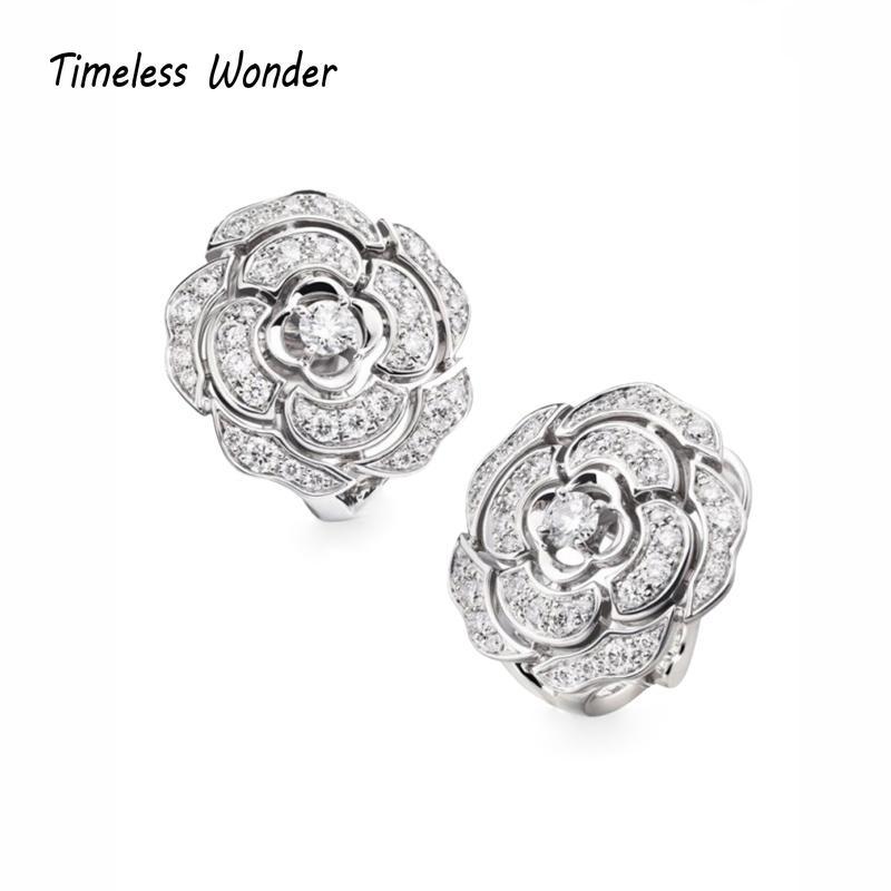 Zamansız Wonder Kristal Zirkonyum Camellia saplama Küpe Kadınlar Fantezi Takı Gotik Üst Nadir Trendy Seti Gelin Hediye 2522
