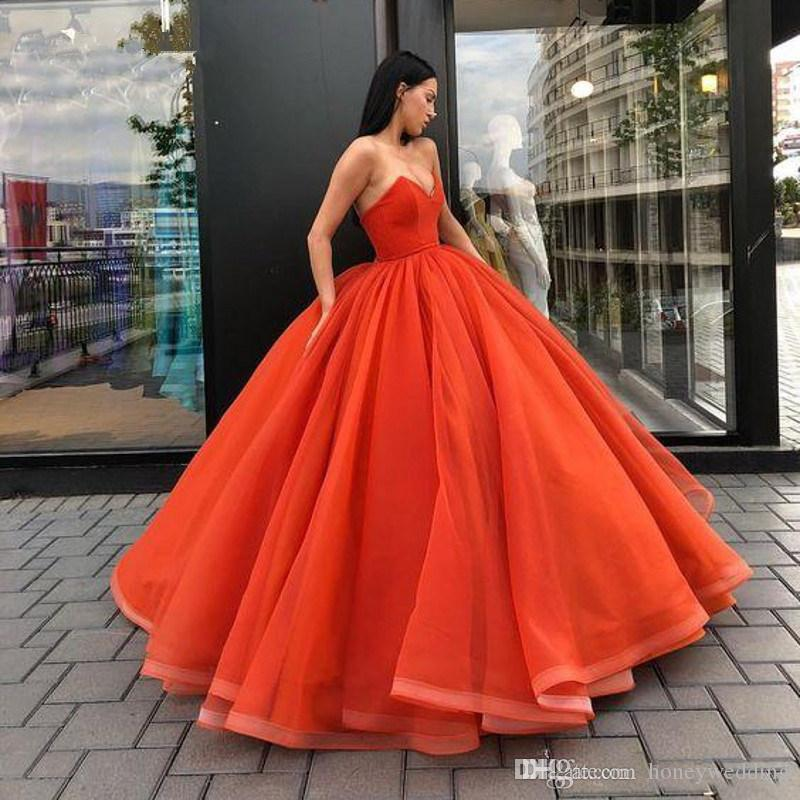 Sweetheart Fluffy Skirt Prom Ball Gowns Floor Length Quinceanera Dresses Coral Pink Prom Dresses Hunter sweet 16 dresses
