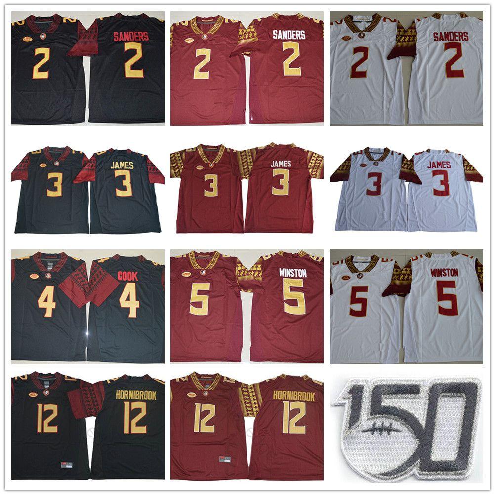 NCAA FSU 150-х годов Флорида Государственный семинов колледжа # 2 Deion Sanders 3 Derwin James 4 Dalvin Cook 5 Jameis Winston 12 Akers Hornibrook Jersey
