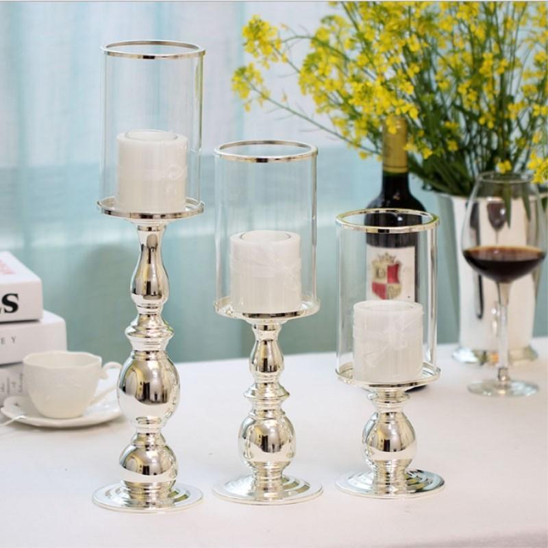 الأوروبية عالية الجودة الفضة مطلي الحديد المطاوع شمعدان الرئيسية زفاف بار الحلي رومانسية ديكورات المنزل Y200109