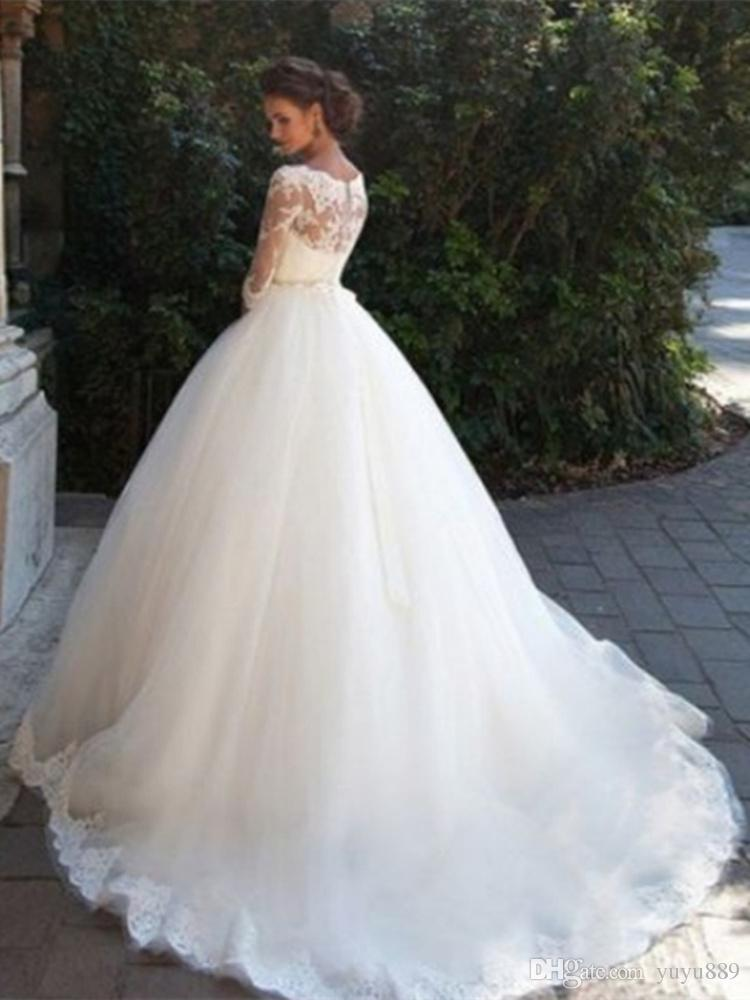 Discount Boho Wedding Dress 2019 O Neck Appliques Lace Mermaid Wedding Gown  With Small Train Sexy Bride Dress Back See Through Online Wedding Dresses