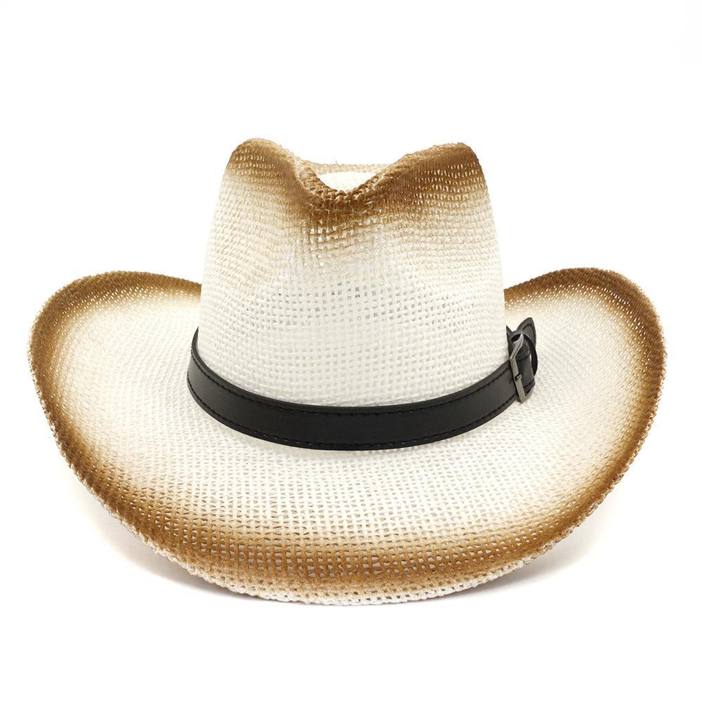 Brauner Sprühfarbe Plain Papier Stroh Western Cowboy Hats Gürtelschnalle schmücken Männer Frauen breiter Rand Sonnenschutzkappen