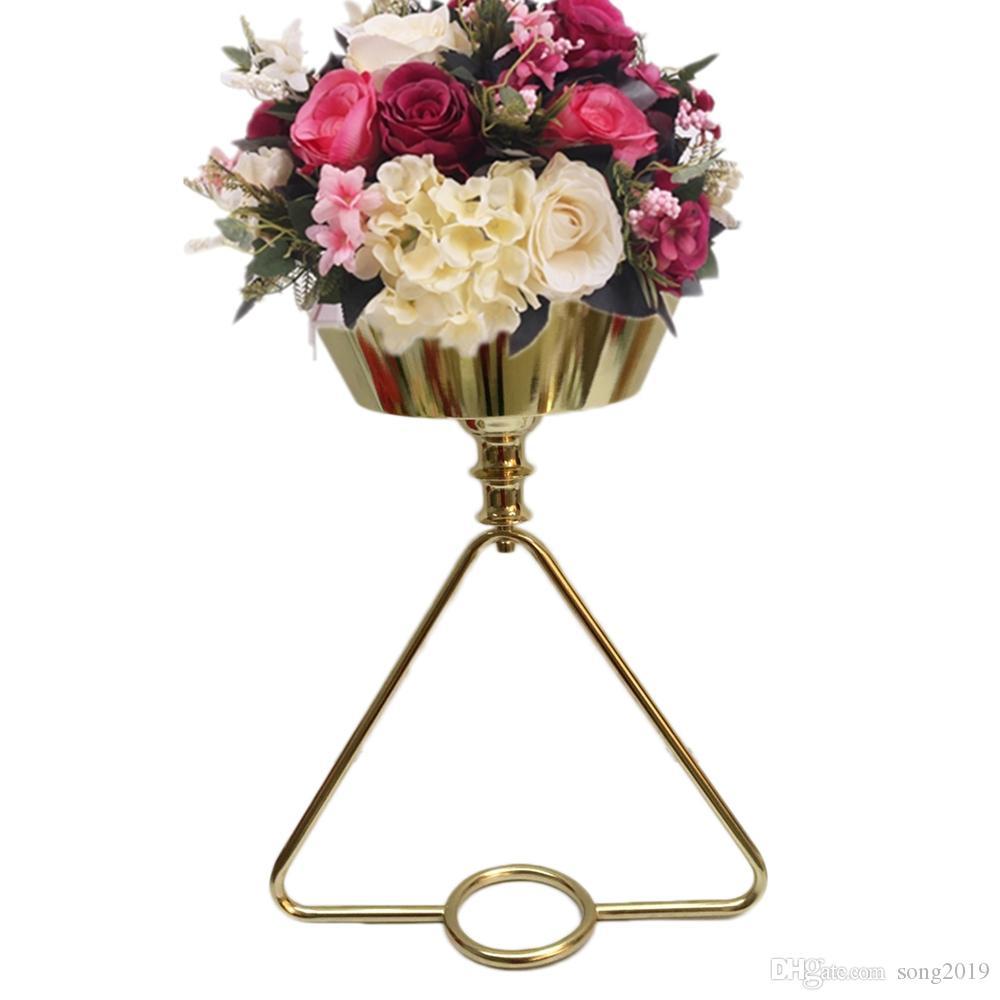 الذهب إناء معدني عمود زهرة وعاء الجدول للزهور حامل الزفاف المركزية الحدث الطريق الرصاص تزيين المنزل