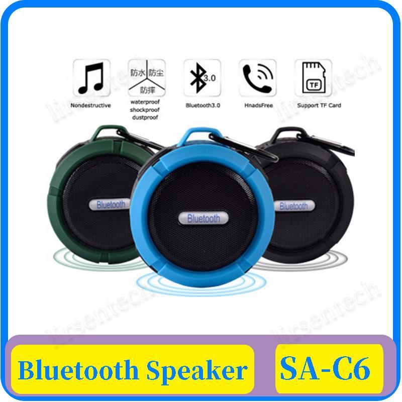 Impermeable altavoz estéreo inalámbrico Bluetooth C6 Columna al aire libre tarjeta de la caja de graves TF altavoces de sonido portátil de pequeño tamaño Sucker