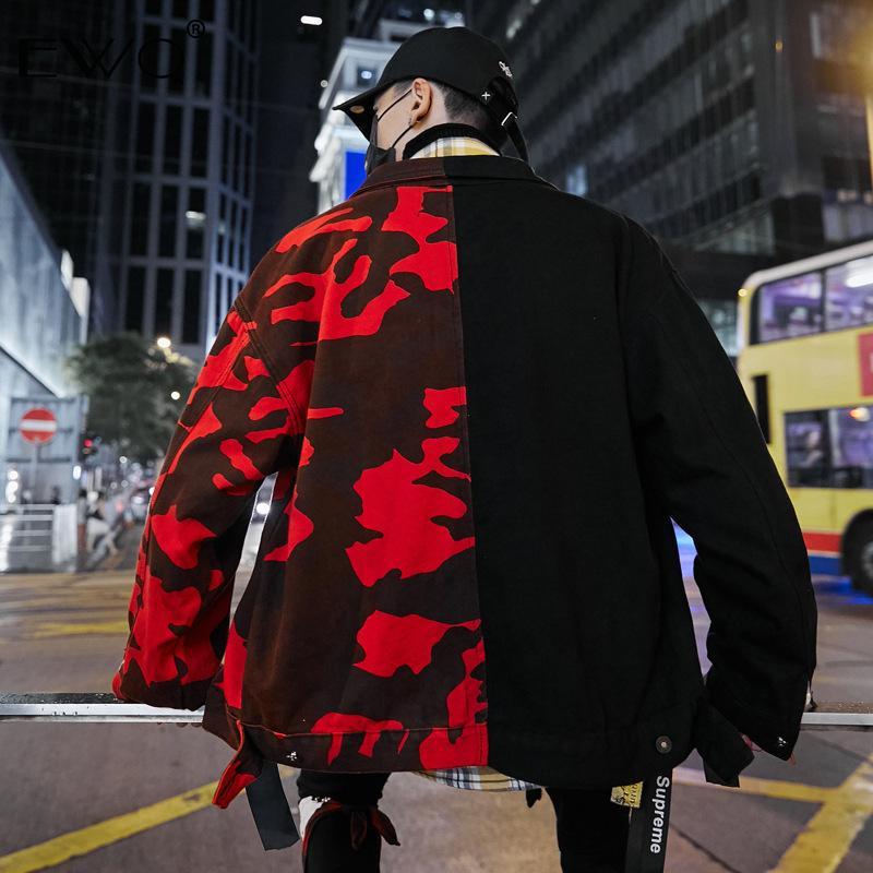 Ribbon Roupa EWQ / 20 Novo Homens Red Preto Camuflagem cor hit Patchwork soltas Denim Jacket masculino Hip-hop e bonito Brasão 9Y197