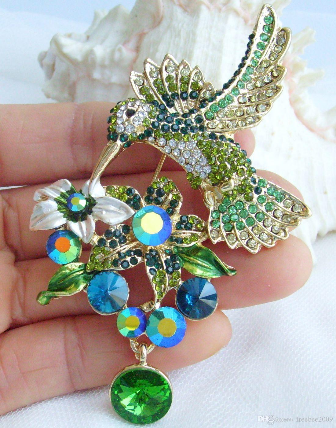 """3.54 """"أزياء زي مجوهرات فاخرة الطائر الطنان بروش دبوس W الأخضر واضح حجر الراين كريستال KPA01775C4A"""