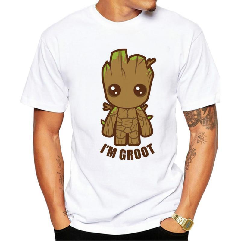 Guardiões dos homens Galaxy 2 T-shirt Anime Bebê Pop Groot Verão Engraçado eu Am Groot camiseta masculino fresco cobre T Belas