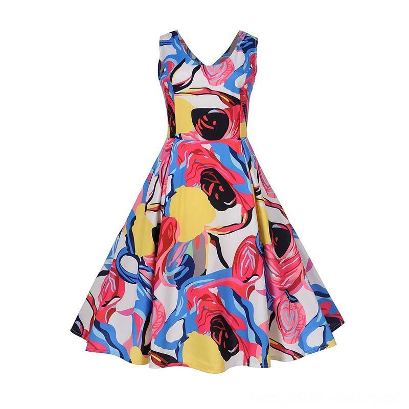 Sexy V раздел рукавов летнее платье Женщины Цветочный печати ретро Урожай Свинг платья Элегантный партия Платье Tunika Robe Femme
