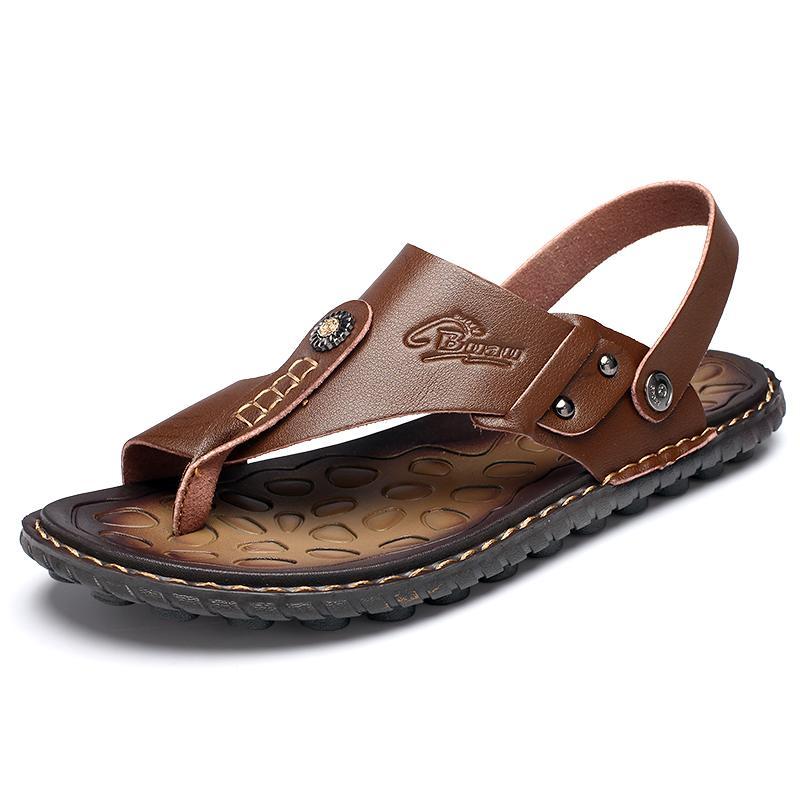 Heißen Verkaufs-Männer Sommer-Sandelholz-Breathable Leder Flip-Flops Hausschuhe Männer Handgefertigte Strand Freizeitschuhe Big Size 47