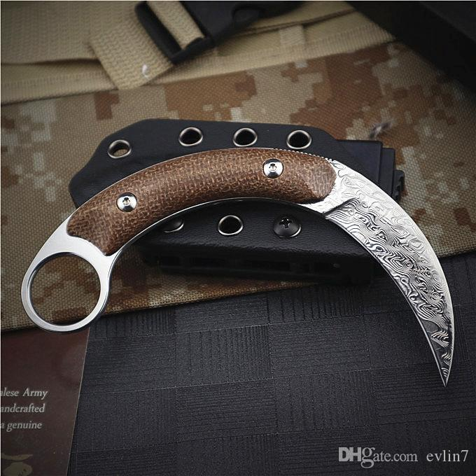 New Arrival Karambit Fixed Blade Tactical Claw Knife VG10 Damascus Steel Blade Full Tang Fiberflax Handle With Kydex