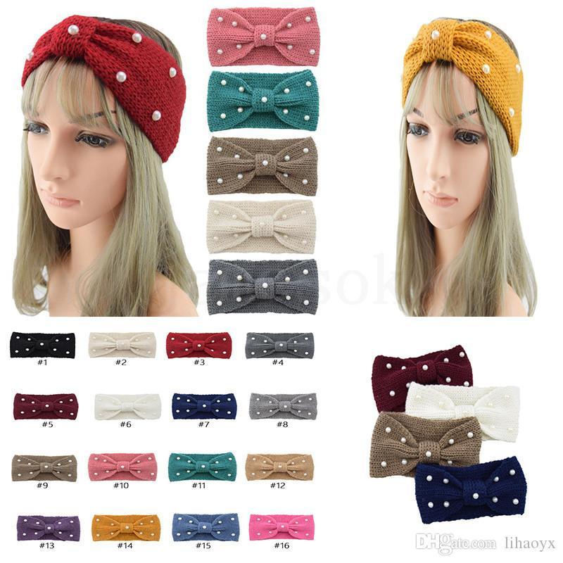 Aquecedor de inverno orelha de malha faixa de faixa turbante para senhora mulheres crochê arco largo estiramento de cabeleireiro acessórios de cabelo para menina dc983
