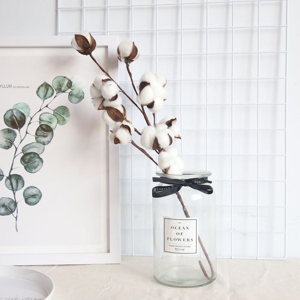 Naturalmente secos tallos de algodón Granja de la flor artificial del relleno decoración floral de flores artificiales decoración del jardín falsa