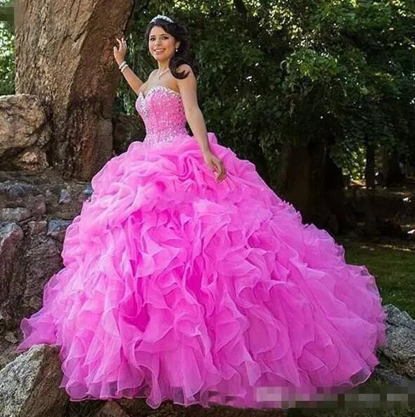 Ruffles Fuchsia Quinceanera Dresses With Beads Crystals Lace Up Sweetheart Ball Gowns Graduation Dress Custom Size Prom Gowns Sleeveless
