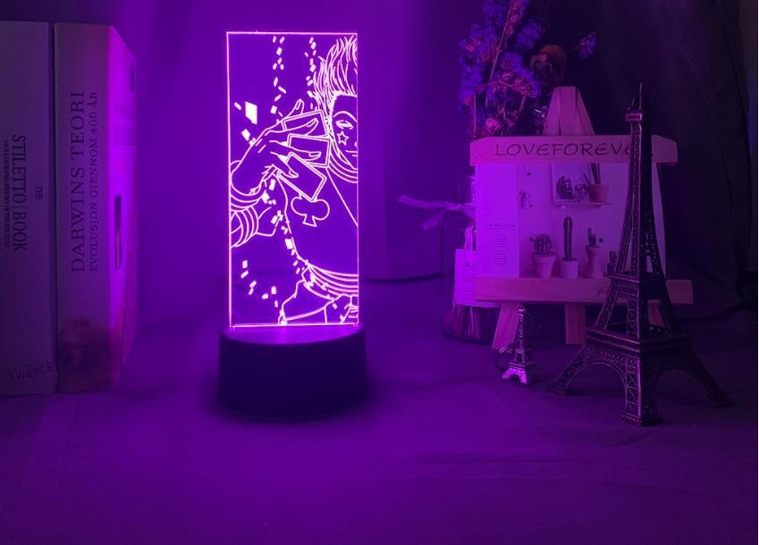 Çocuk yatak odası Dekorasyon Işık Anime Hunter X Hunter Hisoka Lambası Hediyesi için Nightlight Değişen 3d Gece Işığı Led Renk