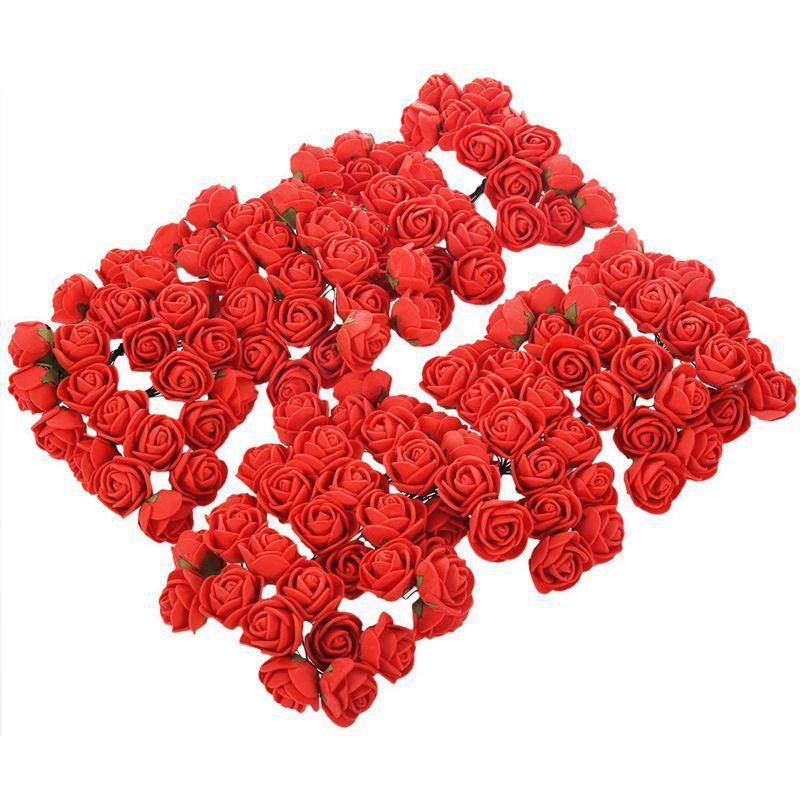 144pcs 2cm PE Rose mousse Mini Bouquet de fleurs décoration Solide Couleur / mariage rouge