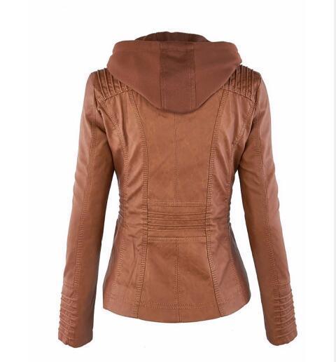 Outono e inverno mulheres jaqueta de couro com zíper motocicleta casaco de couro Hot parágrafo curto PU jaqueta tamanho grande casaco 3XL-7XL