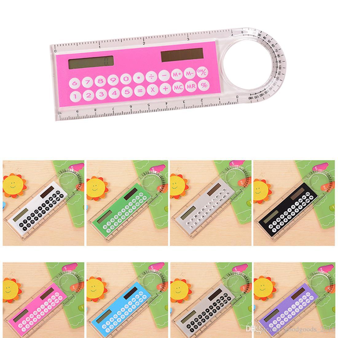 Color Random Hot Selling Solar Mini Calculator Magnifier Multifunction 10cm Ultra-thin Ruler Calculadora Office Supplies DLH209