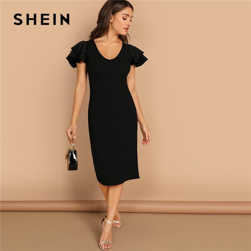 vendita all'ingrosso Black Tiered Flutter Sleeve Fitted Ruffle Scoop Neck Manica corta Tubino Donna Autunno moderno Lady Party Dress