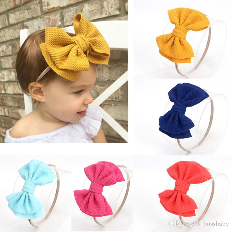 Infant Baby Bow Headband 16 Designs Double Solid Big Bow Hair Bands Kids Headwear Infant Toddler Nylon Headbands 060324