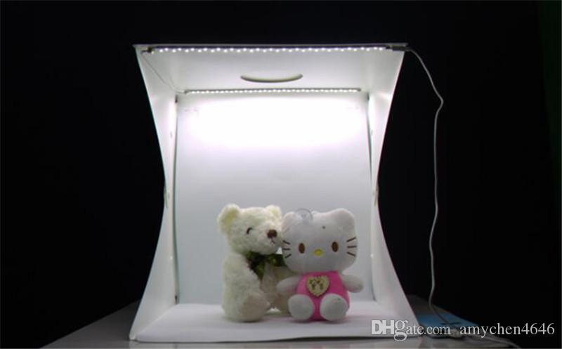Mini 20cm Folding Studio Diffuse Soft Box Lightbox With LED Light Black White Photography Background Photo Studio box
