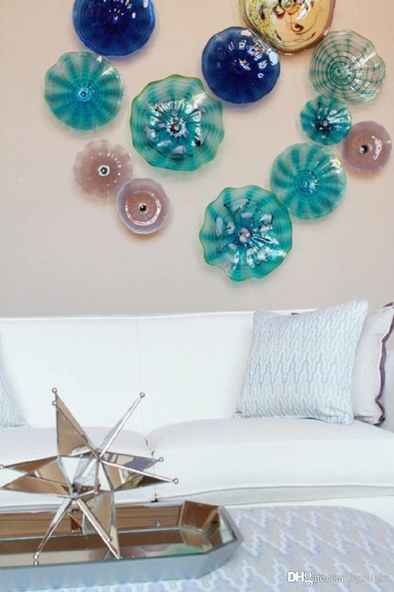 Art de luxe moderne de verre soufflé mur Lampes design italien ronde en verre décoratif Plaques en verre soufflé plaque murale Art