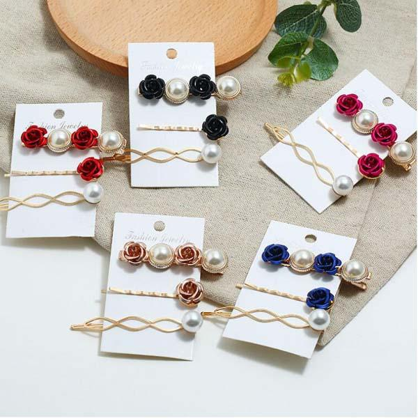 3pcs/set pearl flower hair clips for women/girl color black ,rose red,gold ,blue alloy+pearl Free shipping