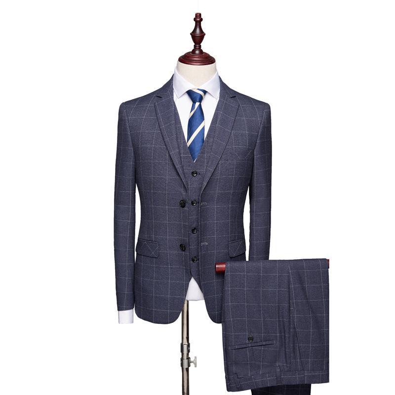 Costume de mariage costume homme Plaid affaires pour les hommes bleu trois pièces costumes Blazer Concepteurs Terno Slim Fit Masculino Groom