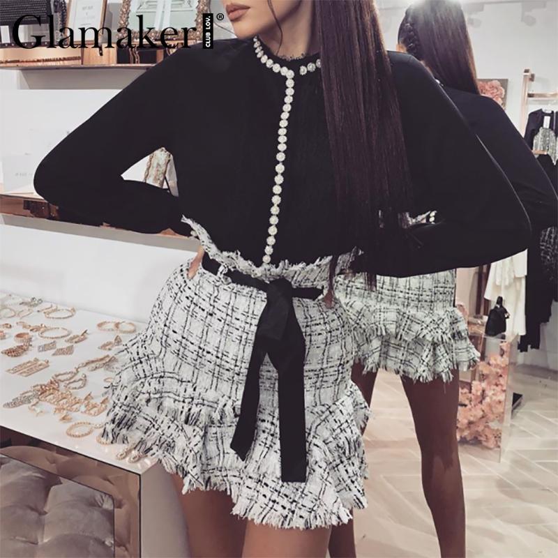 Großhandel Tweed hohe Taille a-line Röcke Frauen 2020 Sommer Schärpen Quaste sexy mini kurzer Rock Böden elegante weiße Damen Rock