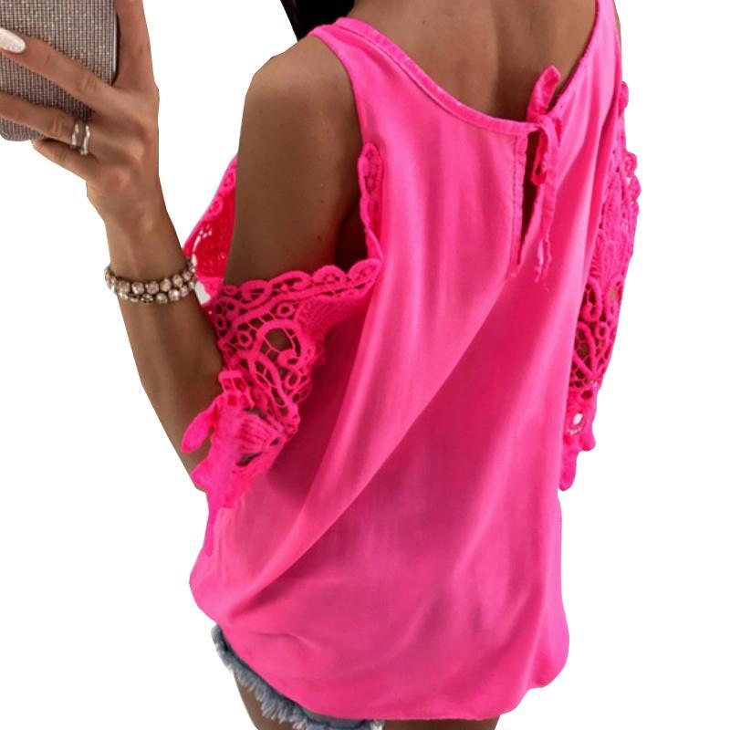 Blusa de gasa de verano para mujer Nueva blusa sexy casual con sol Blusa de media concha Camisas de retazos fuera del hombro Tops sólidos Gv381 Y19071101