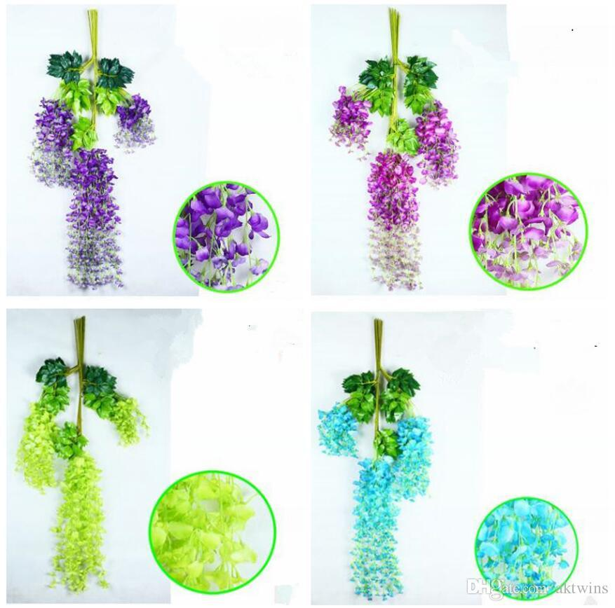 Home Wisteria Decorative Artificial Flower Environmenta Wedding Decor Artificial Decorative Flowers Multicolor Party Decorative Flower WY130