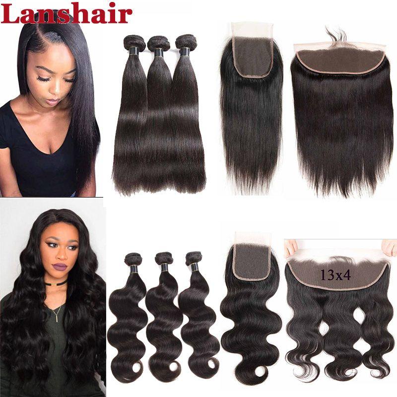 9A Brazilian Human Hair Buy 3 Bundles Get 1 Free Closure Brazilian Virgin Hair 3 Bundles with 4x4 Lace Closure Or 13X4 Frontal