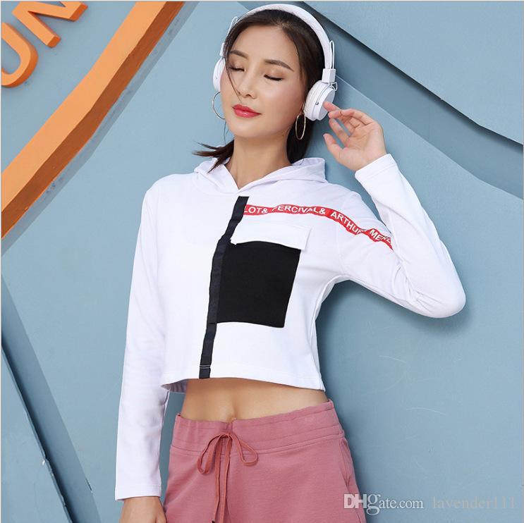 Nuove cappe sottili cuciture ombelico a vista giacca abbigliamento casual signora signora che gestisce l'esercizio di fitness donne