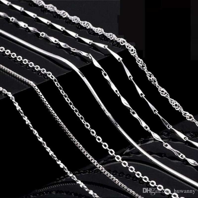 Real 925 Sterling Silver Necklaces Chians Different Style 0.8mm Link Chain Necklace for Women Girl Fashion Jewelry Wholesale 0358WH